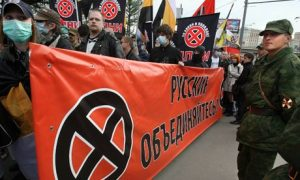 Ugly face of nationalism ... far-right Russians march in Moscow. Photograph: Alexey Sazonov/AFP